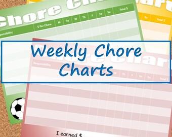 Weekly Responsibility / Chore Charts -- Boys