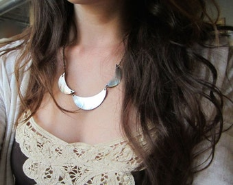 Crescent Shell Necklace. Large Carved Shell Pieces. Antiqued Brass Chain. Mother of Pearl White Round Shell Design