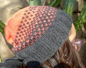 Neon Red/Pink and Charcoal Grey Gradient Hat