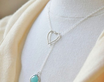 Silver Heart Lariat Necklace with Bezel Glass Crystal Stone- Sterling Silver Chain, Y drop, Delicate Feminine Necklace, Love, Blue or Grey