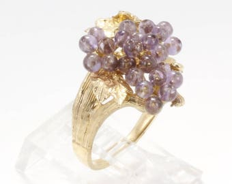 Grape Jewelry, Grape Cluster Ring, 14kt Gold Purple Amethyst Grape Cluster Ring, 50% Off, Grape Jewelry ring, gift for her,February birthday