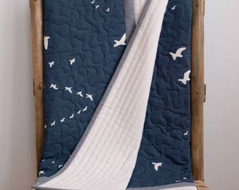 Modern, Navy Blue and Gray Quilt; Simple, Elegant Baby Quilt; Custom Organic Cotton Crib Quilt; Handmade Toddler Quilt Navy Birds in Flight