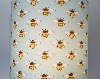 Lampshade with Bees - available in light green, pale blue and dark blue