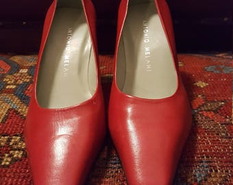 Women's Red Antonio Melani All Leather Shoes Size 8.5