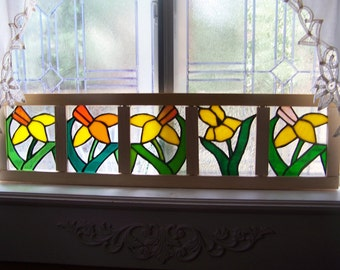Dancing Daffodils-Stained Glass Window Box -