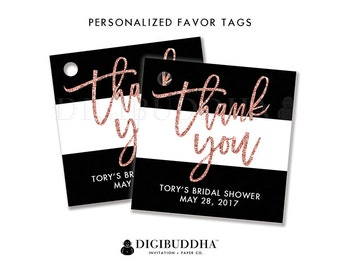 FAVOR TAGS Bridal Shower Favor Tag Thank You Tag Black & White Favor Label Pink Glitter Tags Gift Tag Wedding Favors DIY or Printed - Tory