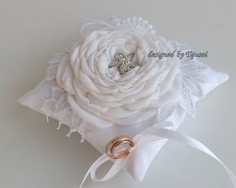 Ring pillow with rose, embroidered lace-ring bearer, ring cushion, ready to ship