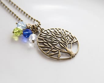 Mother's Pride Necklace - Tree of Life Pendant - Birthstone Jewelry - Inspirational Jewelry - Gift for Mom or Grandma - Family Pride Jewelry
