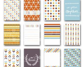 modern Thanksgiving journal cards - digital scrapbook pocket cards - Project Life inspired - 3x4 printable journal cards - instant download