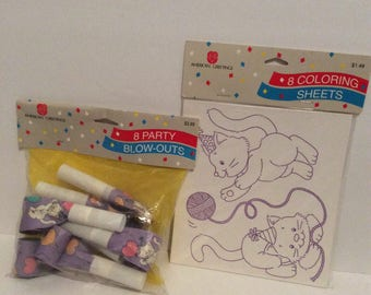 Vintage American Greetings Birthday Kitten Coloring Sheets and Party Blow Outs