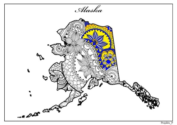 Alaska map adult coloring page USA map coloring page adult