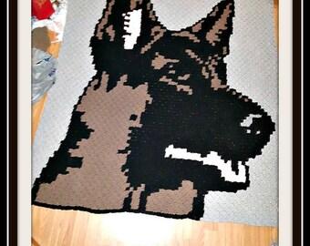 German Shepherd Afghan, C2C Graph, Crochet Pattern