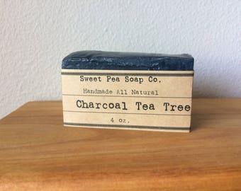 Charcoal Tea Tree Soap, Face Soap, Detox Soap, Soap, Activated Charcoal, Tea Tree Oil