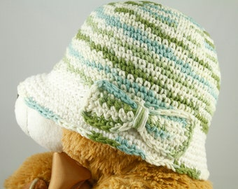 Cancer Hat for Girls in Green, Blue and Cream Ombre - Chemo Hat/Bucket Hat/Chemo Cap/Cancer Cap/Bucket Cap