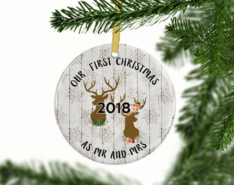 Rustic First Christmas Ornament | First Christmas as Mr and Mrs Tree Ornament | Gift for Couple | Wedding Unique Gift Idea