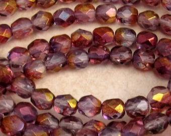 Czech Firepolished Glass Beads, 6mm Round, Purple Luster, 25 Pc. C357