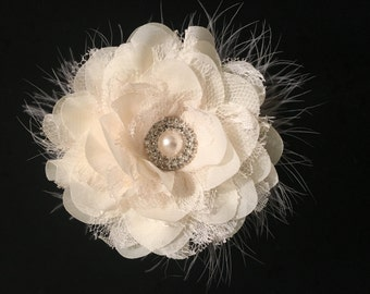 Bridal Flower Hair Clip, White, Ivory,Peach, Silver Gray Flower Pearl Marabou Chiffon Lace Flower Girl Hair Flower Clip,