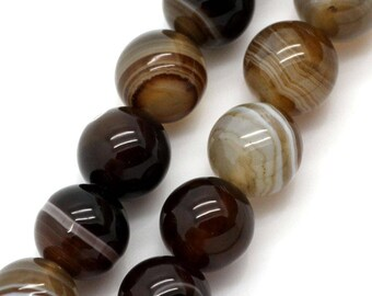 6 colors 10 mm agate beads: coffee