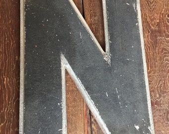 "Large Salvage Letter ""N"" from a Vintage Industrial Sign"