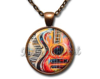 Music Lover Guitar and Piano Keys Glass Dome Pendant or with Chain Link Necklace PR110