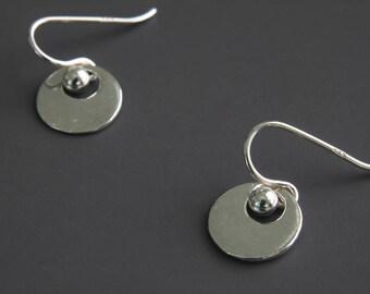 Silver Circle Earrings - Simple Earrings - Disc Jewelry - Trendy Earrings - Dangle Earrings - Everyday Earrings - Silver Dot - Disc Earrings