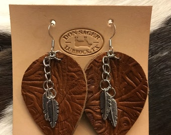 Embossed leather and stainless steel earrings