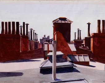 Roofs, Washington Square by Edward Hopper Home Decor Wall Decor Giclee Art Print Poster A4 A3 A2 Large Print FLAT RATE SHIPPING