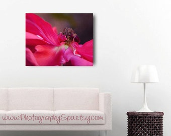 Red artwork floral abstract art large wall decor, flower canvas art, floral canvas wrap, ruby red rose, master bedroom wall art oversized