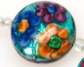 Lampwork glass beads (5) metallic button lampwork beads with colorful flowers SRA Made to order, jewelry supplies, handmade lampwork, beads