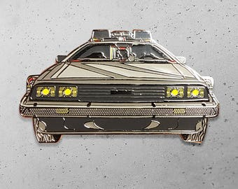 Time Machine DeLorean Flux Capacitor Doc Brown Back to the Future Geek Pin / Lapel Pin / Hat Pin by Tom Ryan's Studio