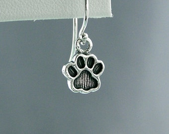 READY TO SHIP - Little Paw Print Earrings - Sterling Silver - Dog Lover Gift - Canine Agility Gift - Dog Paw Earrings