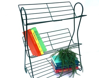 Mid-Century Green Wire, Three Tier Book Stand, Record Stand or Plant Stand, Vintage Book Shelf