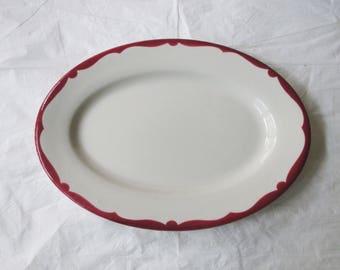 "Buffalo China Restaurantware Maroon Red Border 12-3/8"" Oval Platter #BUF153 (c. 1950s)"