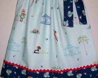 18m Pillowcase Dress Toddler Dress Country Girls Dress with Ducks Farm Dress with Flowers Riley Blake Summer Dress Farm Birthday Farm Party