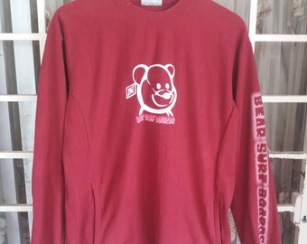 Vintage Bear surfboards sweatshirt spellout with 2 pocket/sportwear/surfing/made in usa