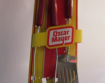 Vintage Oscar Mayer Barbecue Tools, Oscar Mayer BBQ Tongs and Spatula, Oscar Meyer Turner, Barbeque Tongs & Spatula, New, Never Used