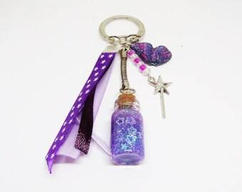 Porte clef / Bijou de sac féerique violet
