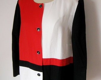CHRISTINE LAURE JACKET / Blouse / Vintage / 80s / Colorful / Geometric pattern / Art full / Paris / France / Black / Red / White