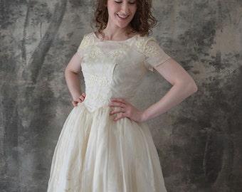 1960s Ivory Organza Wedding Gown