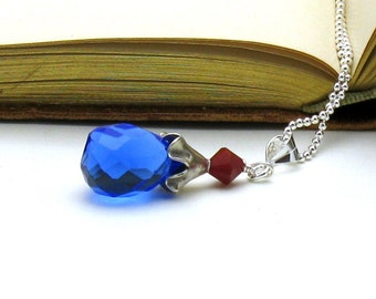 Royal Blue Minimalist Pendant Necklace, Blue Teardrop, for Girlfriend  Wife Under 60, US Free Shipping