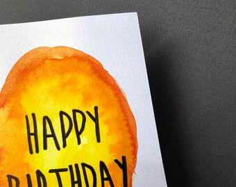 Happy Birthday Watercolour Card - Orange Watercolour Painted Design, Calligraphy