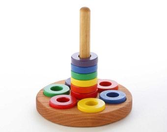 Wooden Ring Stacker Toy - Montessori-Inspired - Round Stacker