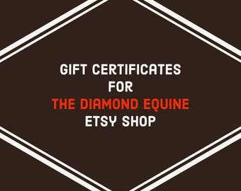 Printable download etsy gift certificates to the diamond equine etsy shop coupon codes horse lover fandeluxe Choice Image
