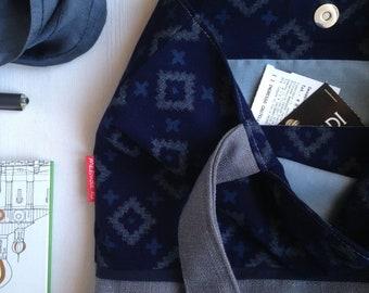 Blue Shoulder Bag | Cotton Tote Bag | Shopper Bag | Vegan Tote Bag | Vegan Shoulder Bag | Gift for You