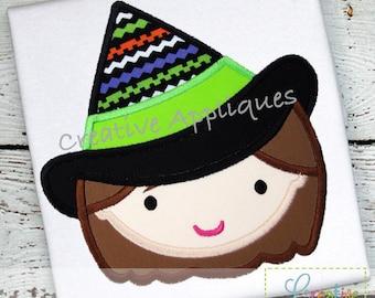 Witch Girl  Halloween Digital Machine Embroidery Applique Design 4 Sizes