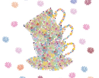 Floral Stacked Teacups Card