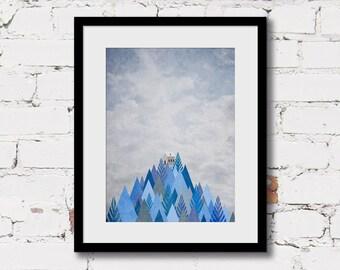 geometric mountain print, blue mountain art print, mountain landscape print, scandinavian print, blue grey boys art, art print adventure