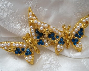 Large Vintage 1960s Goldtone & Blue Lucky Butterflies Brooch Spring