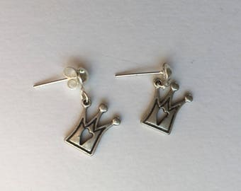 Silver Queen Crown earrings