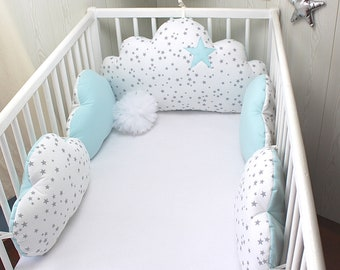 Cot bumpers 5 cloud pillows for a 60cm wide bed, white with grey stars and pale blue